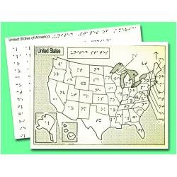 Braille and Tactile Map of the United States
