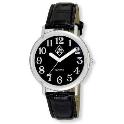 Unisex Low Vision Silver-Tone Watch with Black Face and Leather Strap