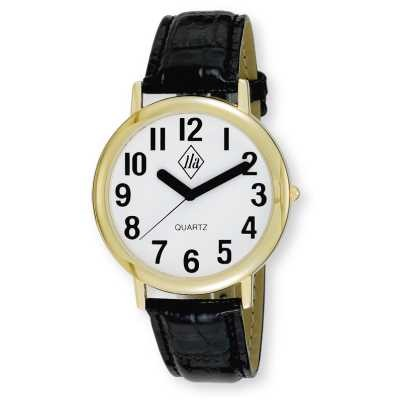 Unisex Low Vision Gold-Tone Watch with White Face and Leather Strap
