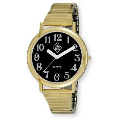 Unisex Low Vision Gold-Tone Watch with Black Face and Expansion Band