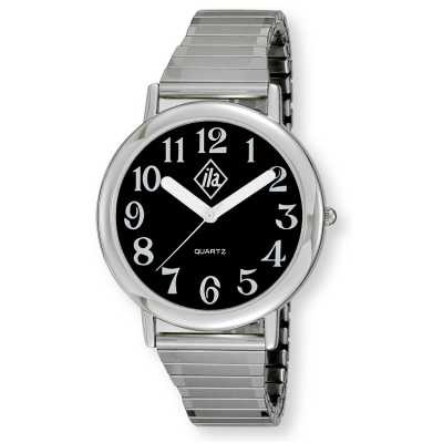 Unisex Low Vision Silver-Tone Watch with Black Face and Expansion Band