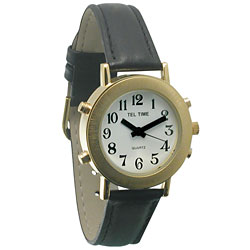 Lady's Gold-Tone Low Vision White Face Watch