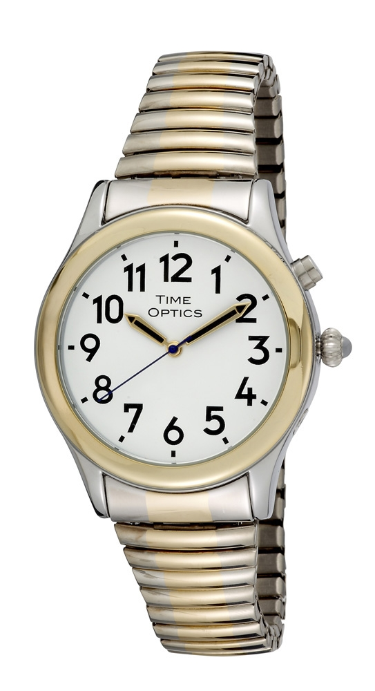 Time Optics Talking Watch Mens Grey and Gold