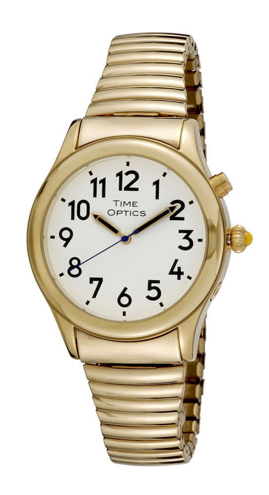 Time Optics Talking Watch Mens Gold