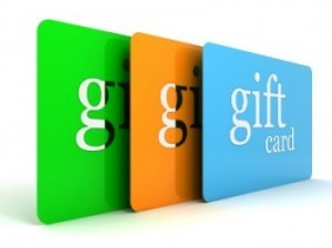 The image shows 3 different colored gift cards stacked together
