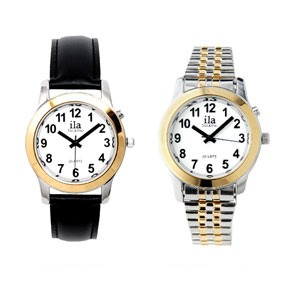 Man's Two-Tone Low Vision White Face Watch
