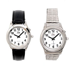 Man's Silver-Tone Low Vision White Face Watch