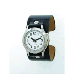 Talking Watch with Slip-On Black Leather Cuff