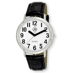 Unisex Low Vision Silver-Tone Watch with White Face and Leather Strap