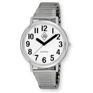 Unisex Low Vision Silver-Tone Watch with White Face and Expansion Banf