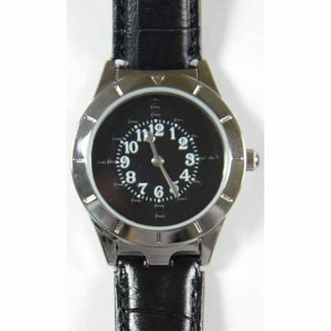 Braille Watch Silver Case with Black Face & Leather Band