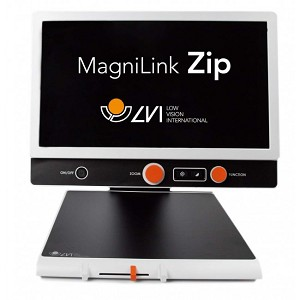 The CCTV is seen directly from the front. The orange control buttons can be seen, as can text on the screen reading 'Magnilink Zip'