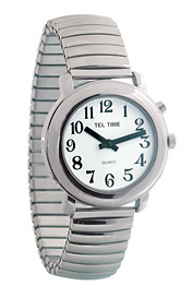 Unisex Talking One Button Watch with Chrome Expansion Band