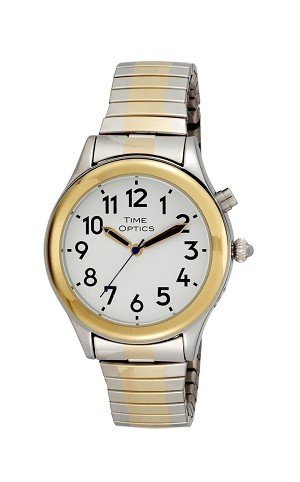 Time Optics Talking Watch Ladies Grey and Gold