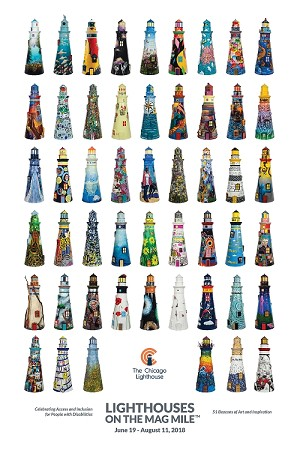 A poster is seen with 51 colorfully decorated lighthouses adorning it