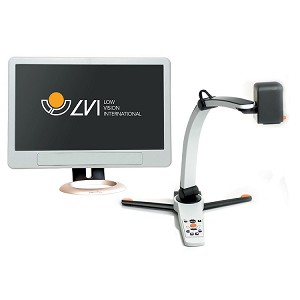The image shows the Magnilink S camera and a monitor from the front, against a white background. On the monitor can be seen the logo of Low Vision International.