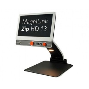 The image shows the Zip 13 inch from the front but angled away. The orange control buttons can be seen, as well as white letters on a black screen  saying 'Magnilin Zip'