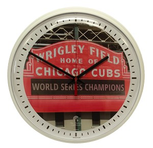 "Chicago Cubs 12.75"" Decorative Wall Clock (White Slimline)"